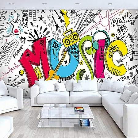 Carta Da Parati Murales.Carta Da Parati Murales Personalita Cartoon Pop Art Graffiti Colorati Musica Lettere Di Grandi Dimensioni Stampa Di Arte Wallpaper Poster Per Ktv Bar Hotel Decor Di Sfondo 120in 200a 300cm H 500 Amazon It Casa E Cucina