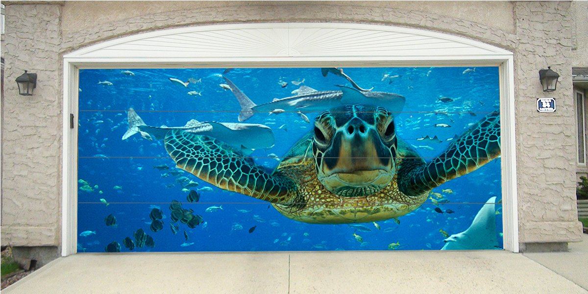 Re-Usable 3D Effect Garage Door Cover Billboard Sticker Decor Skin -Sea Turtle - Sizes to fit your Garage.