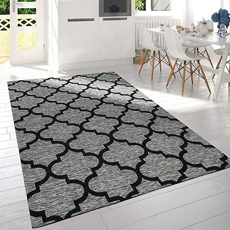Paco Home Moderne Poils Ras Salon Tapis Design Marocain ...