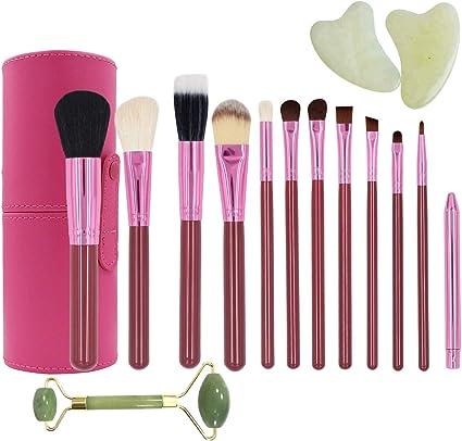 set 12 brochas de maquillaje con estuche rosa sombra pinceles delineador de ojos, brush colorete, corrector de polvo de REGALO rodillo facial de piedra de jade cuarzo: Amazon.es: Belleza