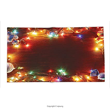 custom printed throw blanket with christmas decorations collection fairy lights image on wooden rustic pine with