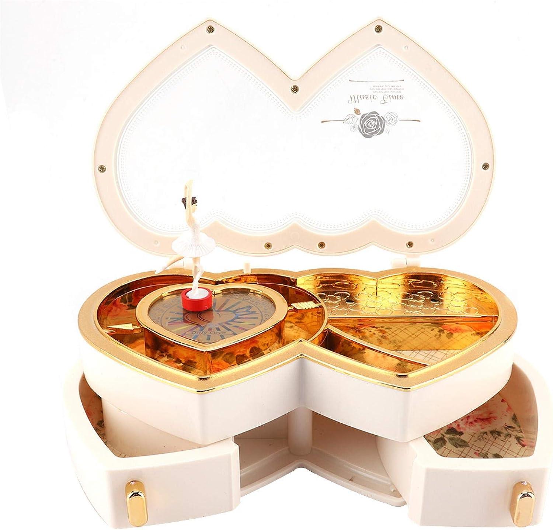 Rose /étui de Rangement pour bo/îte /à Bijoux Musicale Double Ballerine Coeur pour Petites Filles Hongzer Bo/îte /à Musique