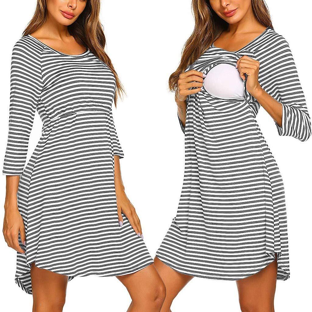SO-buts Women Maternity 3//4 Sleeve Striped Nursing Breastfeeding Sleepwear Dress Autumn Winter Nightdress Casual Pajamas Dresses