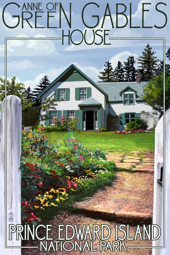 Prince Edward Island - Green Gables House and Gardens (12x18 Art Print, Wall Decor Travel Poster)