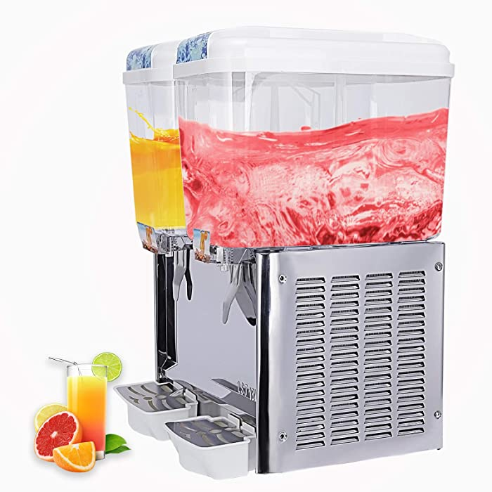 SUNCOO Commercial Juice Beverage Dispenser-Cold Ice Juice Temperature Control,Per Tank Large Capacity 4.75 Gallon,2 Tank with Spigot