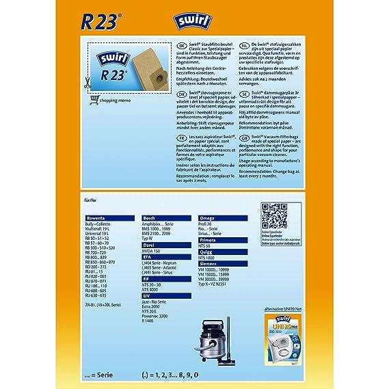 Amazon.com: Swirl R 23 Bolsa Polvo Aspirador Accesorios ...