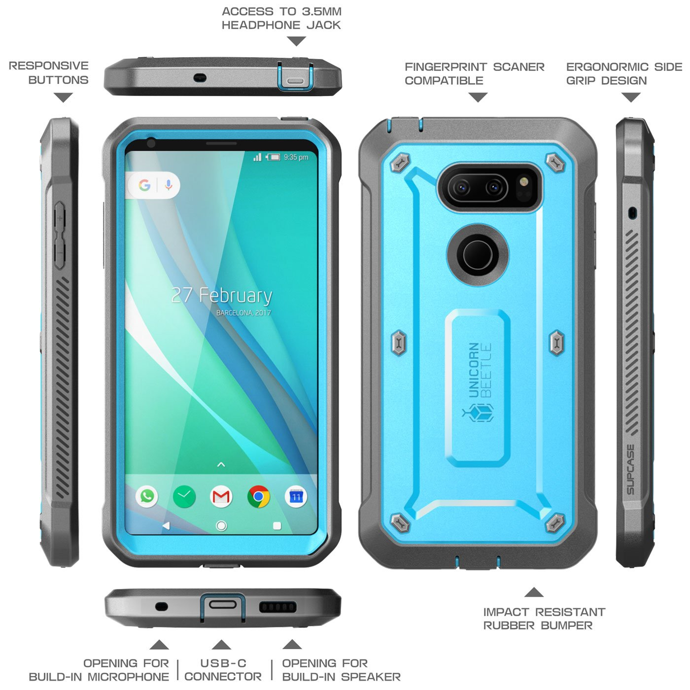 LG V30 Case, SUPCASE Full-body Rugged Holster Case with Built-in Screen Protector for LG V30, LG V30s,LG V35,LG V35 ThinQ,LG V30 Plus 2017 Release, Unicorn Beetle PRO Series(Blue/Gray) by SUPCASE (Image #3)