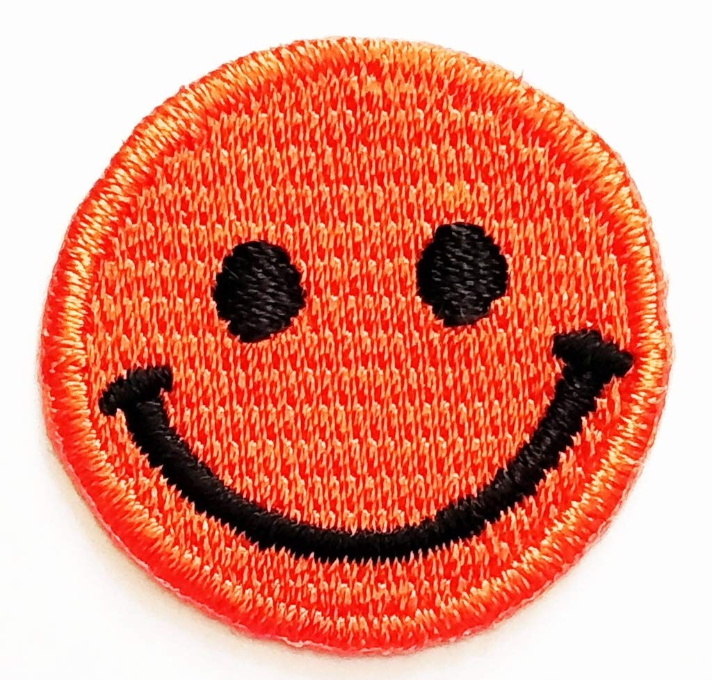 PP Patch Mini Pretty Emoji Orange Smiley Happy Smile Face Cartoon Kid Patch  Sticker Symbol Jacket T-Shirt Patch Sew Iron on Embroidered Sign Badge