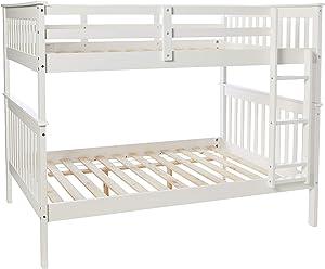 Donco Kids Mission Bunk Bed, Full/Full, White