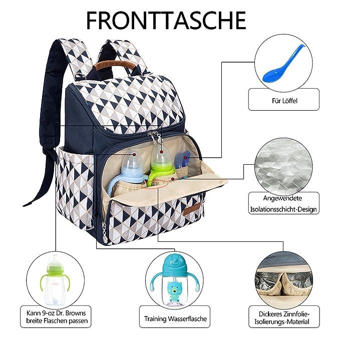 Mochila portapañales de Lukatu, bolso organizador con correas para cochecito, bolsillo térmico, multifunción e impermeable, bolsa de viaje antirrobo azul ...