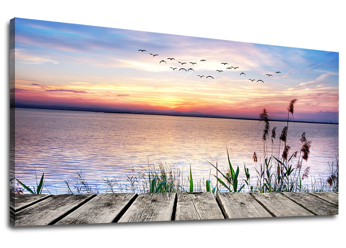 yearainn Canvas Wall Art Dock Peaceful Lake Sunset With Flying Birds Panoramic Painting - Long Canvas Artwork Contemporary Nature Picture for Home Office Wall Decor 20'' x 40''