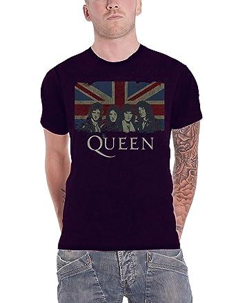 Queen T Shirt Vintage Union Jack Band Shot Logo Official 2 Tone Burnout