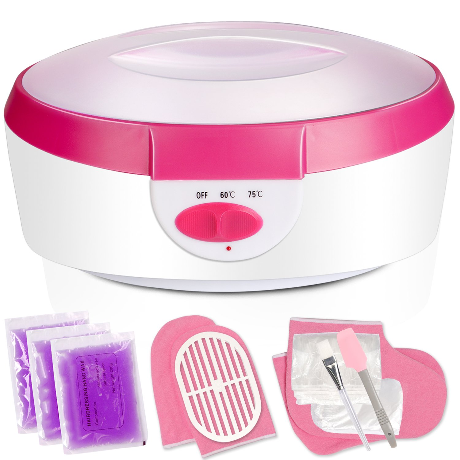 Ejiubas Paraffin Wax Warmer Quick-Heating Paraffin Wax Machine Moisturizing Kit with Paraffin Wax Refill Thermal Mitts Gloves Silicone Brush Paraffin Bath Spa for Hands and Feet