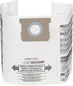 WORKSHOP Wet Dry Vacuum Bags WS32090F Fine Dust Collection Shop Vacuum Bags (2 Shop Vacuum Bags), Bag Filter For WORKSHOP 5-Gallon To 9-Gallon Shop Vacuum Cleaners