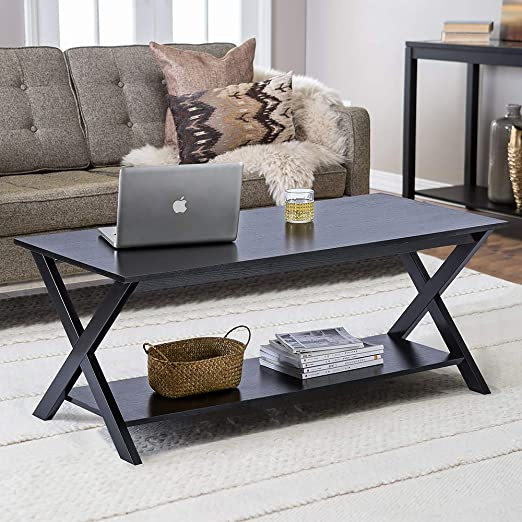 ChooChoo Black Coffee Table with Wood Top for Living Room Easy Assembly Rectangle Retro Coffee Table with Open Shelf