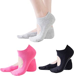 Jointop Yoga Socks for Women Non Slip Socks with Grips for Barefoot Exercise, as Xmas Gifts, Home, Workout, Fitness