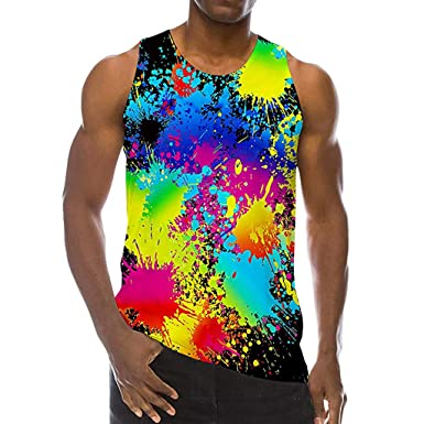 39dd43bf Amazon.com: Tank Tops for Men Big and Tall,Summer Casual Fashion 3D ...