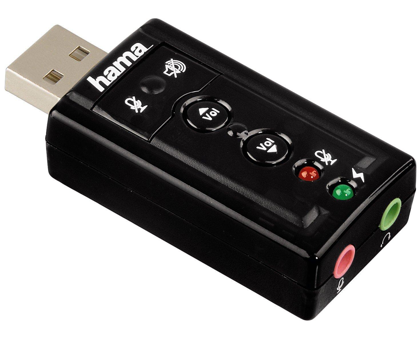 Hama - USB Sound Card 7.1 Surround, 0 bit, 7.1, 0 Db, USB: Amazon ...