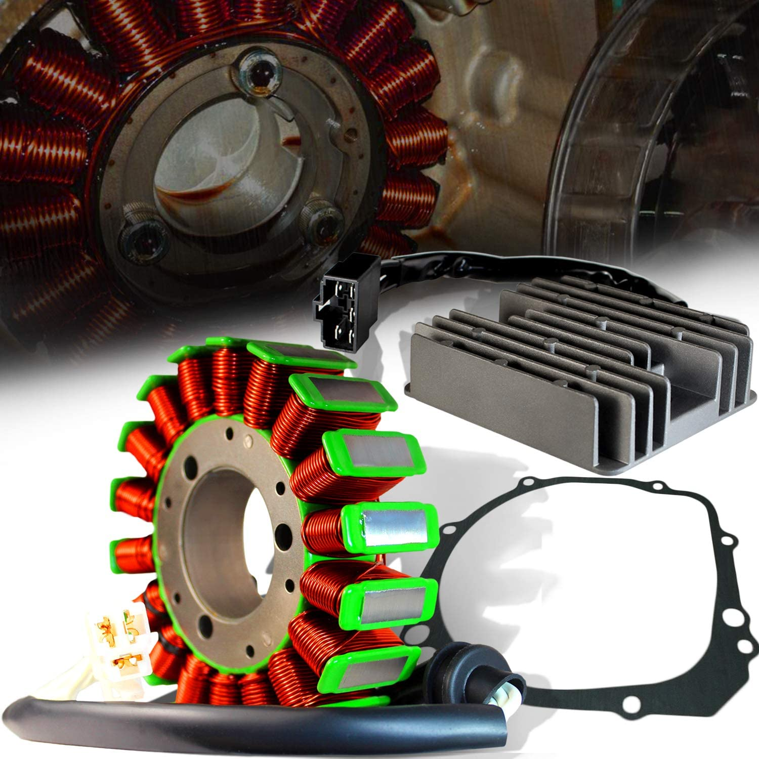 ExtremePowersports OE Magneto Coil Stator+Voltage Rectifier+Gasket For 00-03 GSXR 600//750//1000