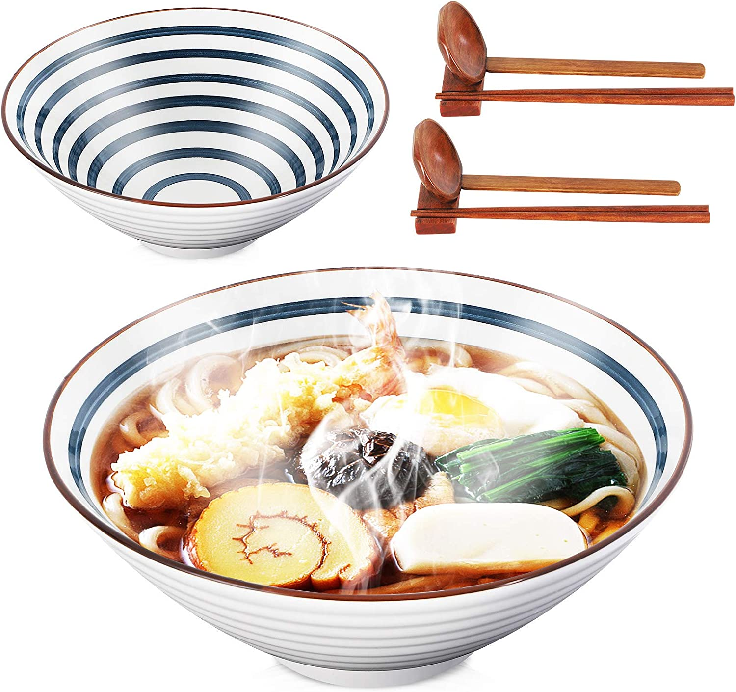 Ceramic Japanese Ramen Noodle Soup Bowl,2 Sets (8 Piece) 60 Ounce Large with Matching Spoon and Chopsticks and Racks for Salad Udon Soba Pho Asian Noodles, Steel Blue