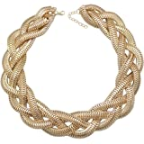 "QQ Fashion Vintage Gold Egyptian Cleopatra Style Bold Snake Braided Chain Statement Bib Necklace,19.7"""