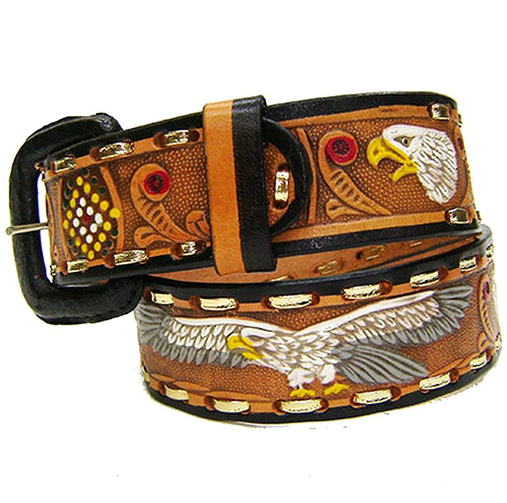 Modestone Hand Painted Embossed Eagle Leather Belt 1.5 Width Tan