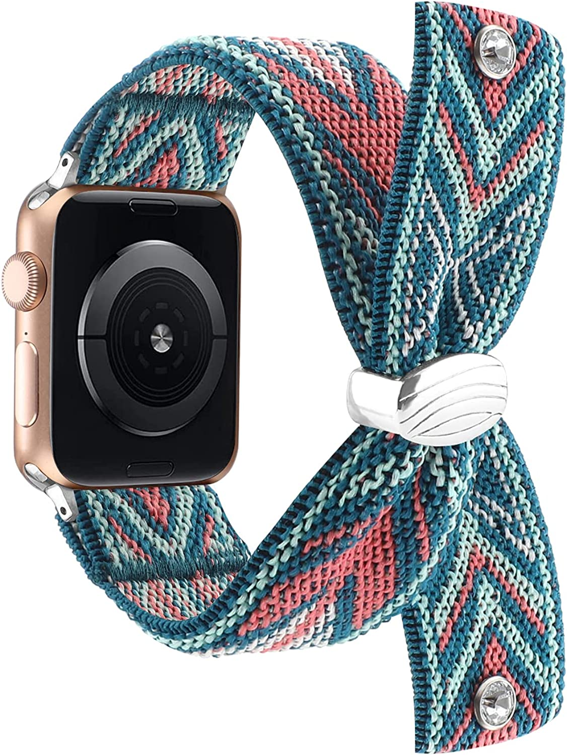 Stretchy Nylon Solo Loop Bands Compatible with Apple Watch 38mm 40mm 42mm 44mm, Women Elastic Adjustable Wristband Compatible with iWatch Series 6/SE/5/4/3/2/1