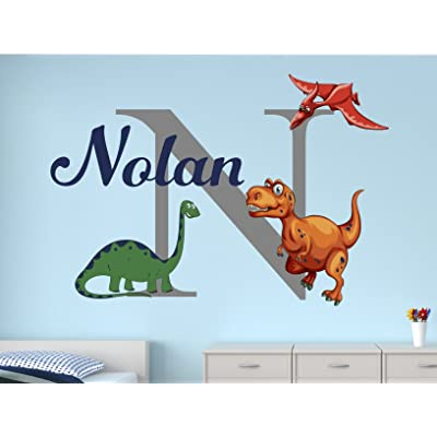 "Lovely Decals World LLC Dinosaur Wall Decals for Kids Custom Boys Name Nursery Art Decor Sticker Vinyl LD47 (26"" W x 18"" H): Home & Kitchen"