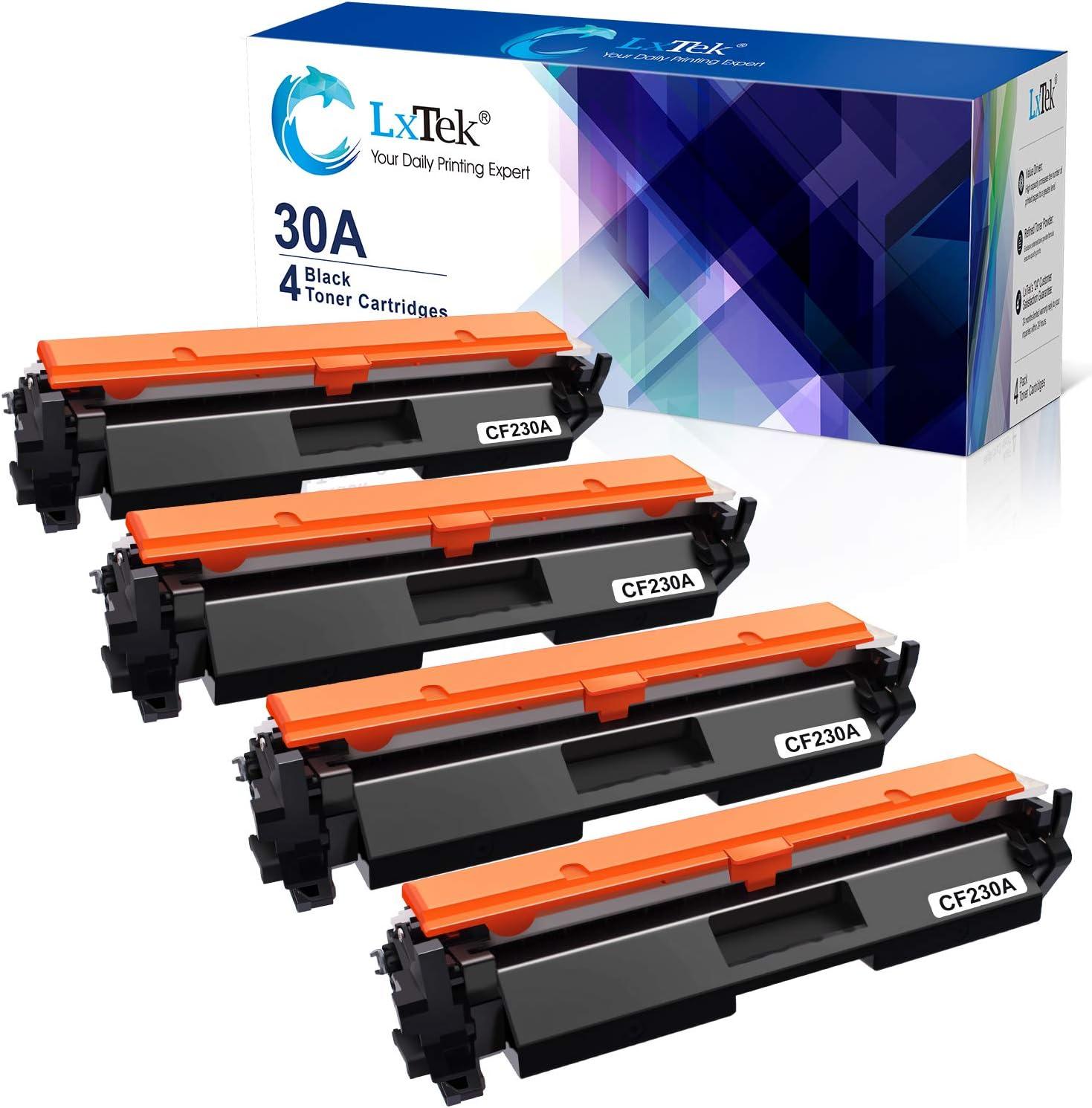 LxTek Compatible Toner Cartridge Replacement for HP 30A CF230A 30X CF230X to use with Laserjet Pro MFP M203dw M227fdw M227fdn M203d M203dn M227sdn M227 M203Printer (Black, 4-Pack)