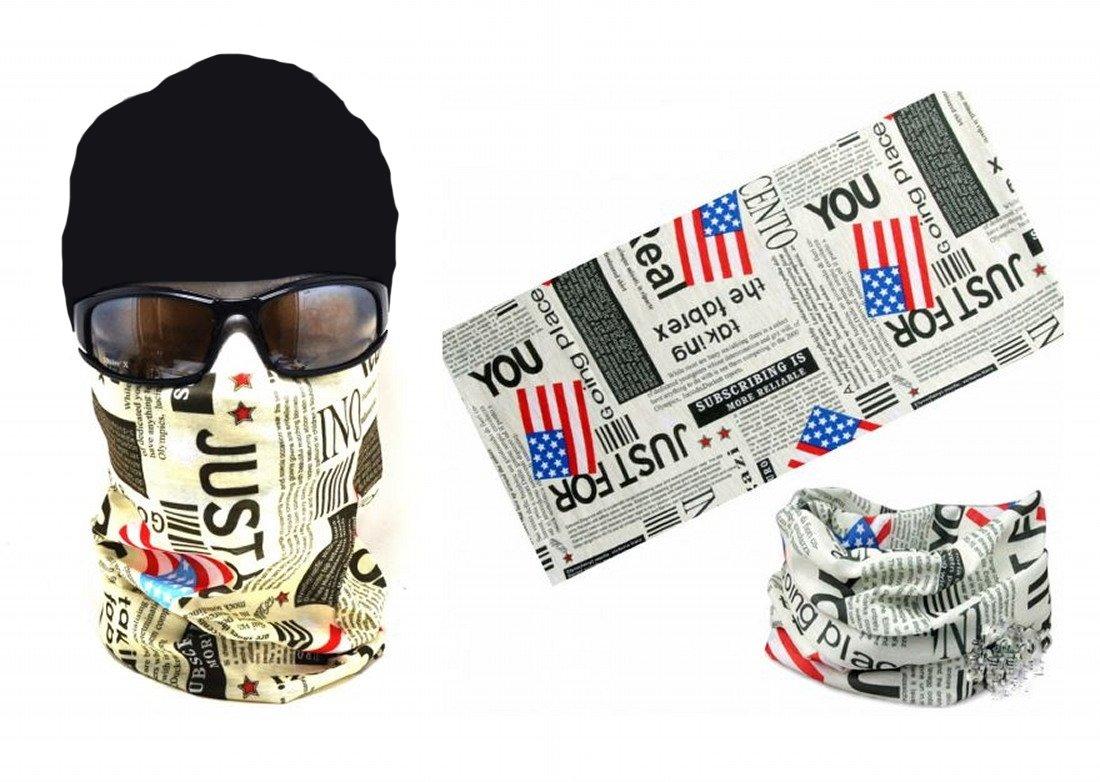 ARUNDEL SERVICES EU Masque Protecteur de poussiè re Tubulaire Amé rique Journal Bandana Moto Polyester É charpe Visage Crâ ne Cache-Cou pour Le Surf des neiges Paintball Skiing Moto