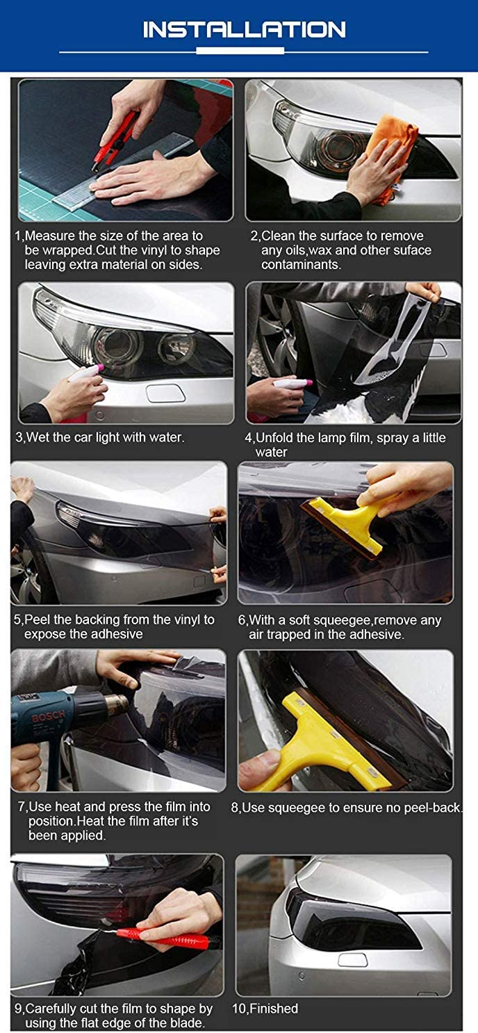 "Fog Lights Tail Lights Glossy Green KOMAS 12/"" X 48/"" Tint Vinyl Film Sticker Sheet Roll for Car Headlight"