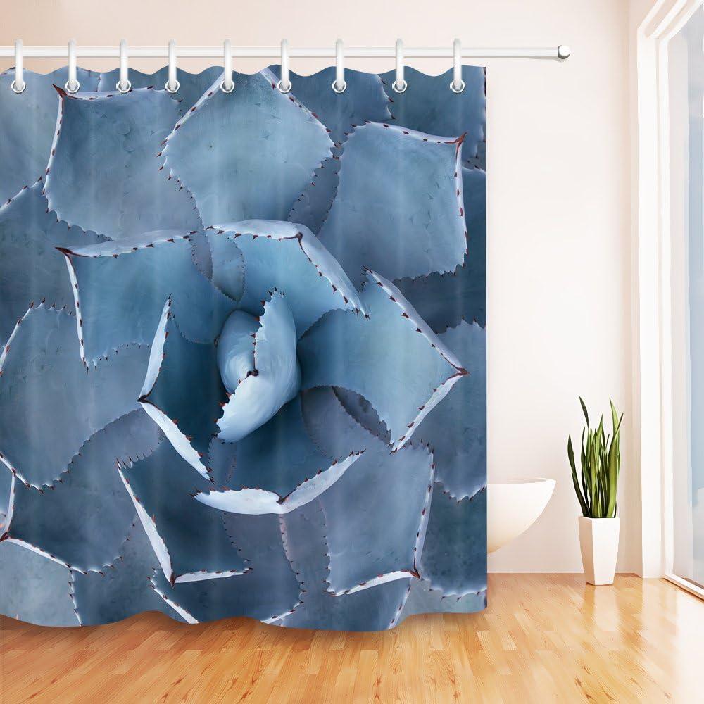 XZLWW Cortina de Ducha a Prueba de Agua Plantas suculentas Azules Mamparas de baño Tejido de poliéster 100% con 12 Ganchos para decoración de bañera para el hogar 180x200CM A: Amazon.es: Hogar