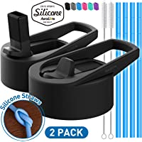 Aoralivre Hydroflask Straw Lid Wide Mouth, 2 Pack Wide Mouth Straw Lid with 4 Silicone Straws, 2 Straw Brushes, Silicone Nozzle, Perfect for Most Sports Water Bottle