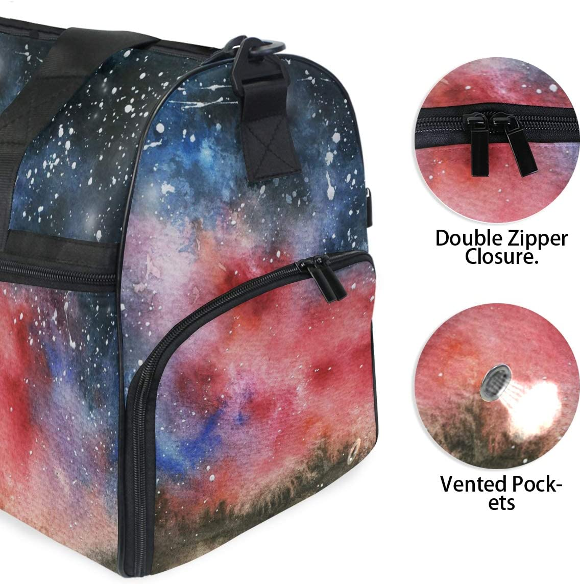 FAJRO Gym Bag Travel Duffel Express Weekender Bag Aurora Starry Sky Carry On Luggage with Shoe Pouch