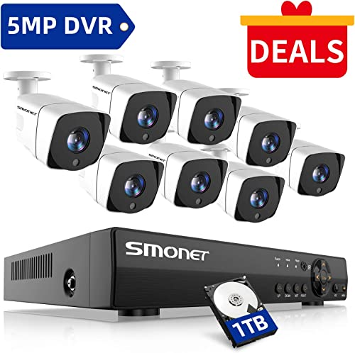 SMONET FHD Security Camera System,8 Channel 5-in-1 HD DVR Outdoor Camera System 1TB Hard Drive ,8pcs Weatherproof Security Cameras,Super Night Vision,Free APP,Easy Remote View,P2P