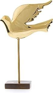 EliteCrafters Handmade Dove Bird, Solid Brass Metal Sculpture - Table Ornament, Gold Color, 18cm (7.1