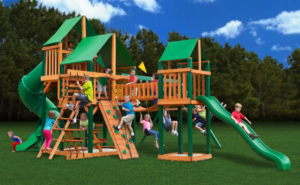 Superbe Amazon.com: Gorillaplay Sets Home Backyard Playground Treasure Trove Swing  Set With Timber Shield And Deluxe Green Vinyl Canopy: Toys U0026 Games