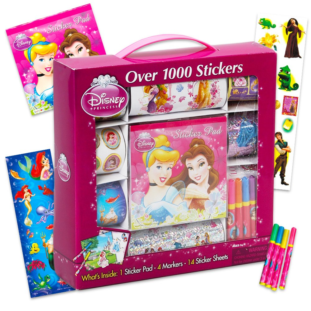Disney Princess Giant Sticker Box Activity Set ~ Over 1000 Disney Princess Stickers Featuring Cinderella Little Mermaid Tangled Belle and More ~ Plus Bonus Castle Doorhanger