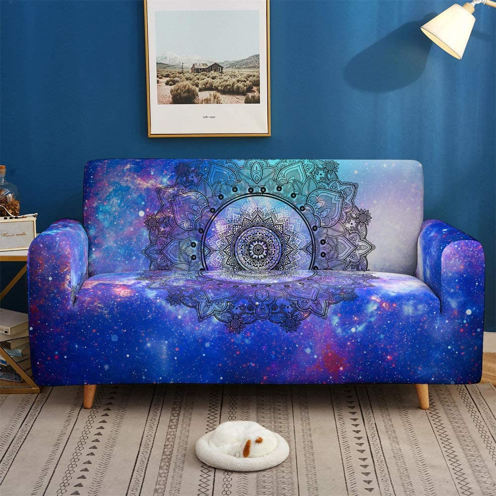 Printed Sofa Cover Stretch,Mandala Black Floral Pattern 3D Printed Polyester Spandex Stretch Couch Cover,Furniture Universal Sofa Cover For Armchair/Loveseat/Couch/Big Sofa,3,Seater 190,230Cm