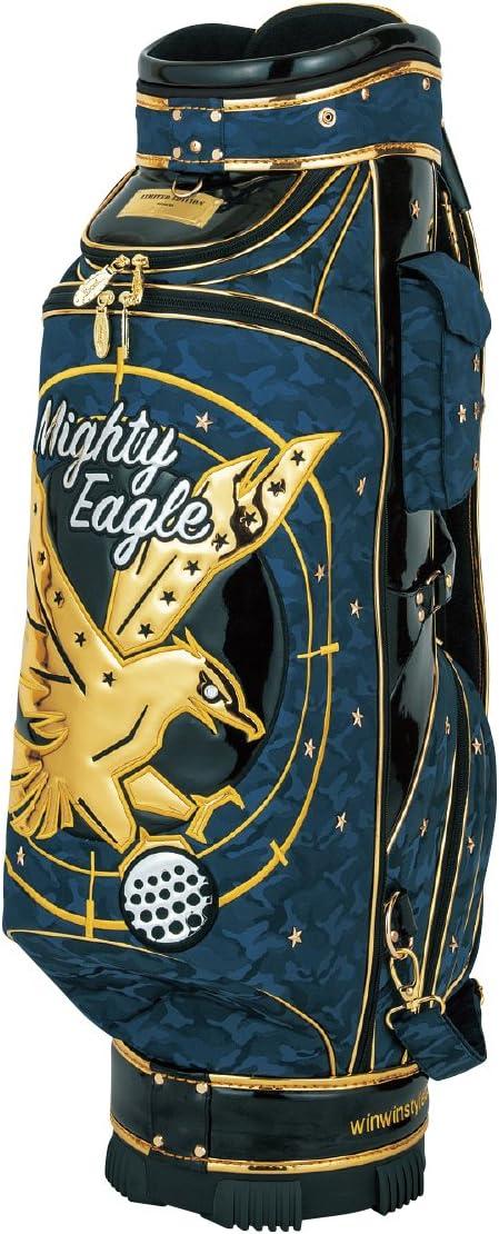 WINWIN STYLE(ウィンウィンスタイル) キャディーバッグ PREMIUM MIGHTY EAGLE CART Bag ゴールド Ver. 9.0型 47インチ対応 限定モデル ユニセックス CB-346 ブルー デザイン:エナメルアップリケ刺繍