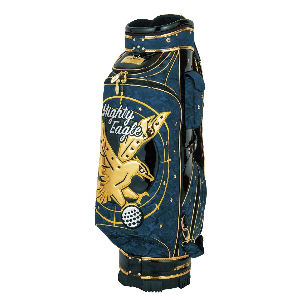 WINWIN STYLE(ウィンウィンスタイル) キャディーバッグ PREMIUM MIGHTY EAGLE CART Bag Gold Ver. 9.0型 47インチ対応 限定モデル ユニセックス CB-346 ブルー デザイン:エナメルアップリケ刺繍   B07B4L7X39