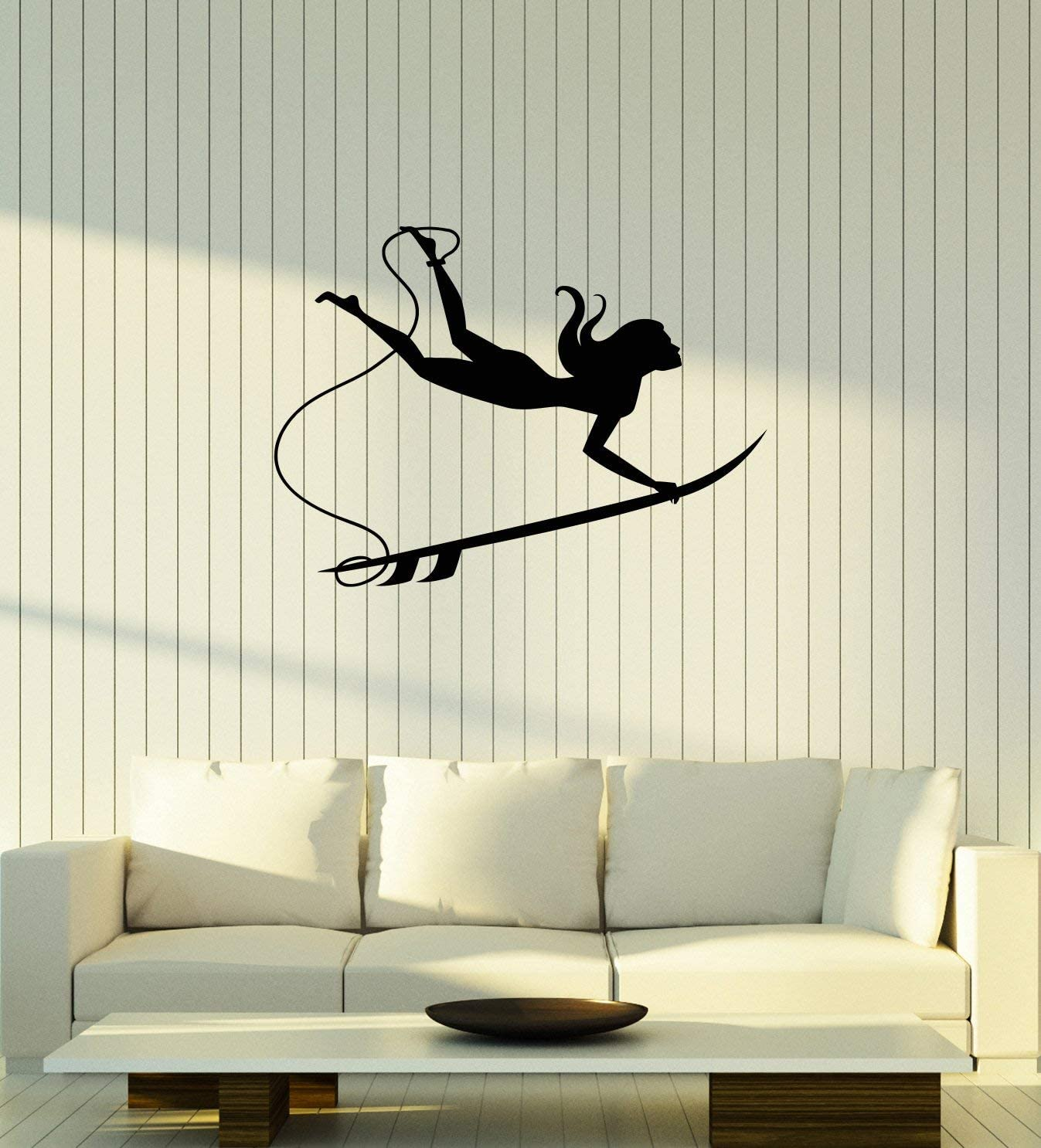 Vinyl Wall Decal Surfer Girl Surfboard Beach Style Surfing Interior Room Stickers Mural Large Decor (ig5826) Black