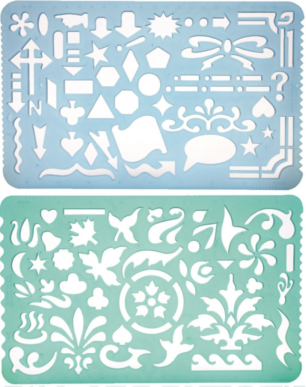 Set of 2 Artistic Drafting Art Templates of Various Shapes and Designs for Artists and Art & Craft Projects Yosogo Writing Instrument 2001AB