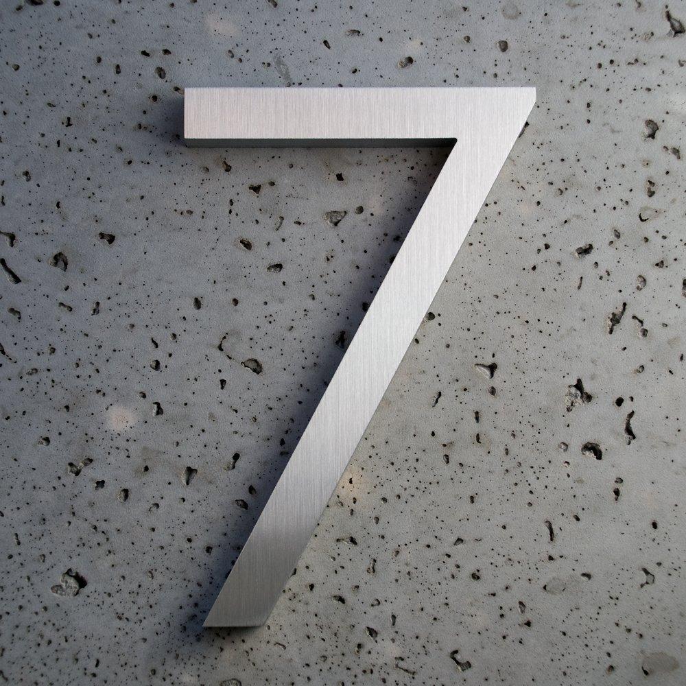 Amazon com modern house number aluminum modern font number seven 7 8 inch address plaques garden outdoor