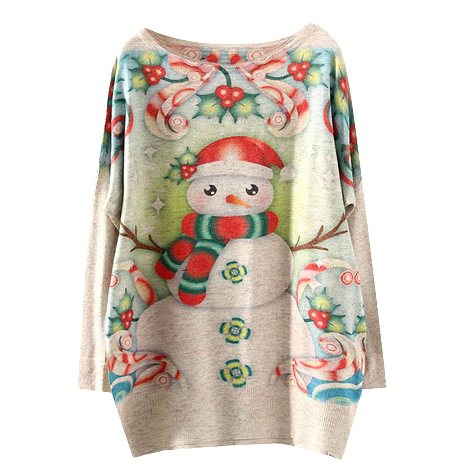 Annisking Womens Sweater Snowman Jumper Loose Pullover Bat Sleeve Knit