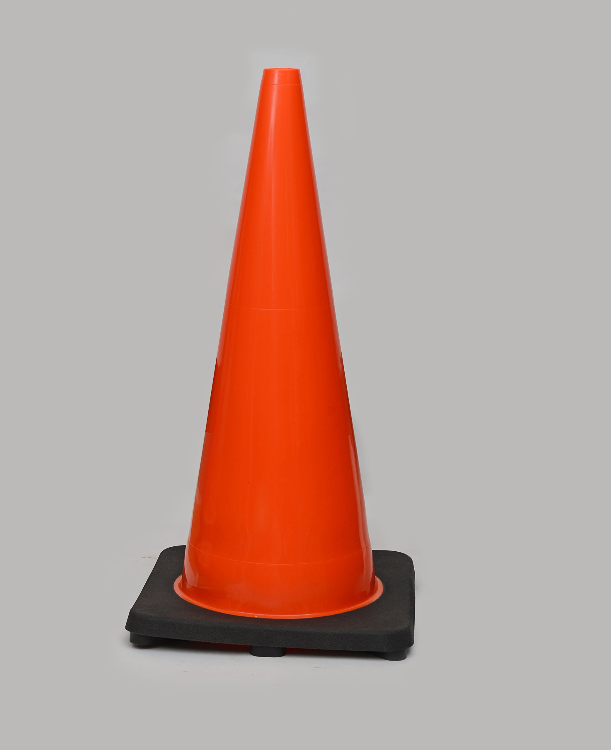 (8 Cones) CJ Safety 28'' Height Orange PVC Traffic Safety Cones With Black Base - No Reflective Collars (Set of 8)