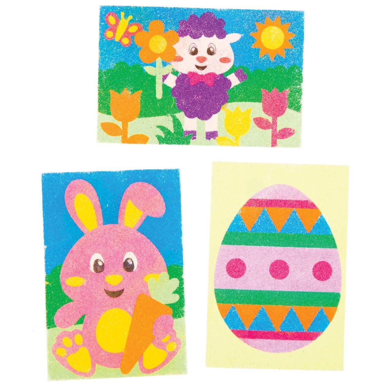 confezione da 8 Immagini autoadesive pre-progettate per larte della sabbia per bambini Immagini Pasquali Sand Art Baker Ross