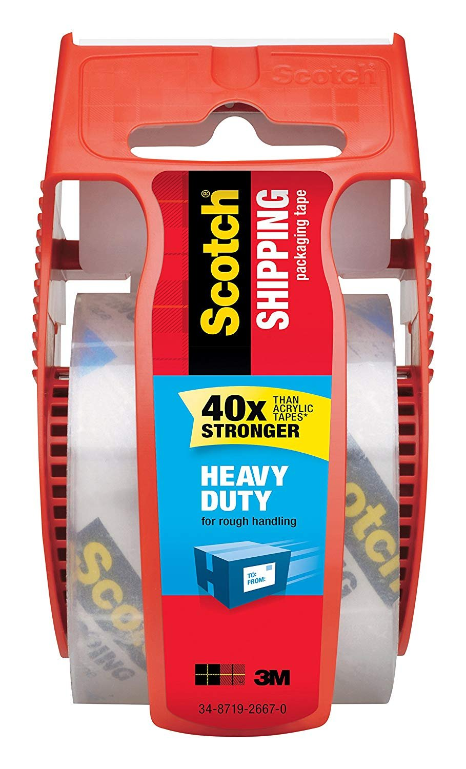 Scotch Heavy Duty Shipping Packaging Tape NG8ZH, 1'' Core, 1.88'' x 19.4 yd, 2-Pack