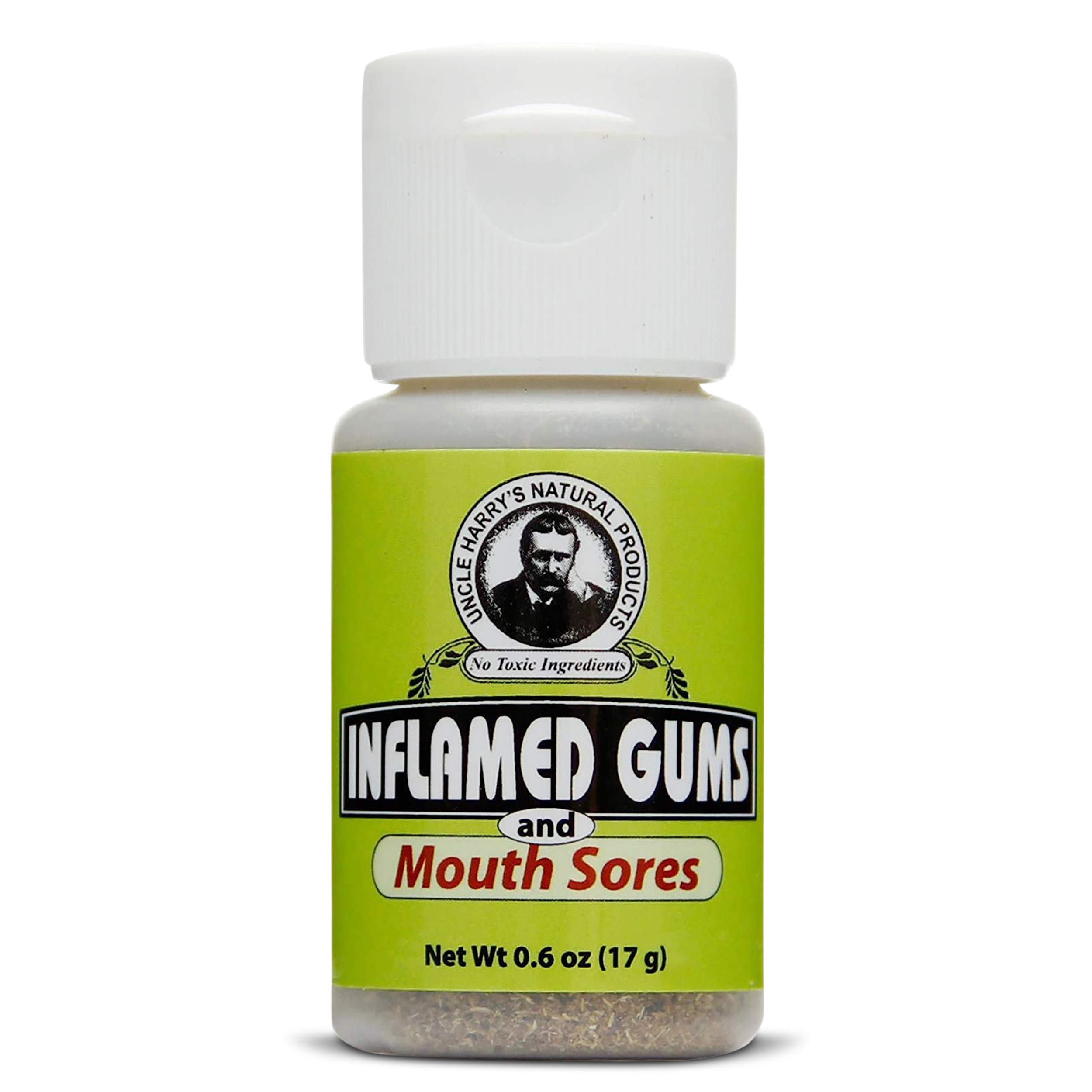 Uncle Harry's Inflamed Gums & Mouth Sores Tooth Powder | Organic Powder Toothpaste for Gum Health & Sensitive Teeth | Tooth Pain & Mouth Sore Rinse Made with Pure Essential Oil (0.6 oz)