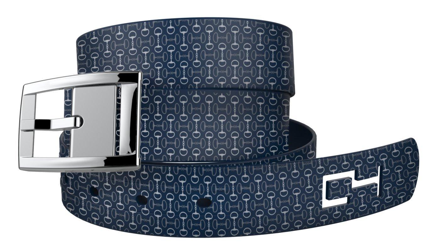 C4 Equestrian Belt: Navy Bits n Pieces Strap/Silver Chrome Buckle - Equestrian Horseback Riding Belt for Women